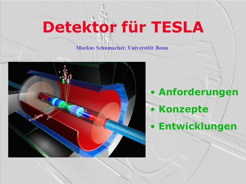 Physikalische Fragestellungen Beschleuniger mit hoher Luminosität Detektor für Präzisionsmessungen Präzisionsuntersuchungen des Higgs-Sektors des SUSY-Teilchen-Spektrums der Struktur der Raum-Zeit von alternativen Theorien des bekannten Standardmodells (speziell top-Quark und W-Boson) ZHH Selektion von seltenen Prozessen ( = 0.3 fb für ZHH) Genaue Rekonstruktion der Vierer-Impulse von Leptonen, Photonen, Jets und Fehlender Energie