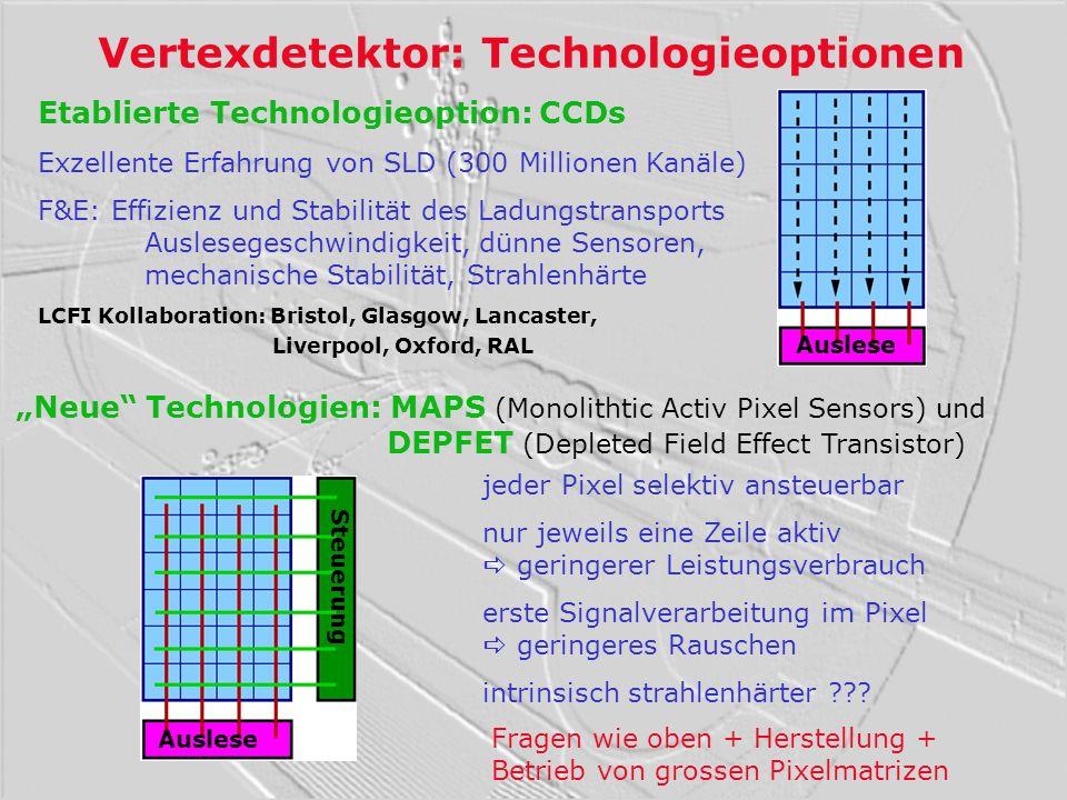 Vertexdetektor: Technologieoptionen Etablierte Technologieoption: CCDs Exzellente Erfahrung von SLD (300 Millionen Kanäle) F&E: Effizienz und Stabilit