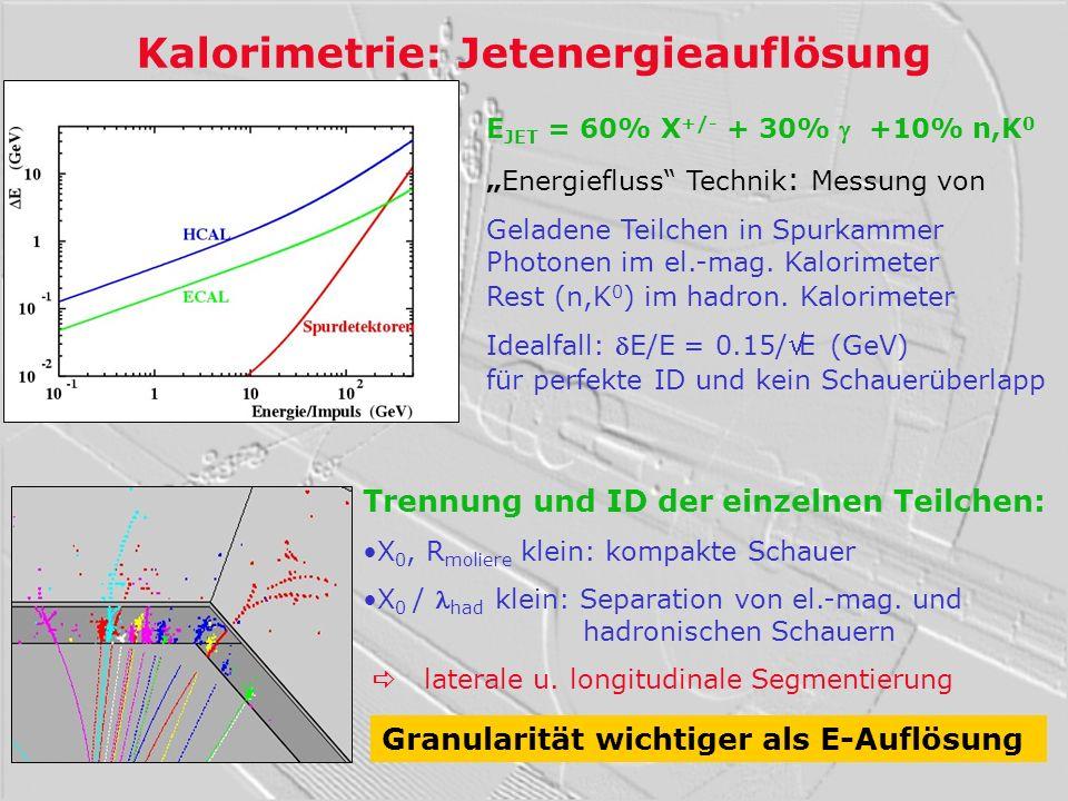 Kalorimetrie: Jetenergieauflösung E JET = 60% X +/- + 30% +10% n,K 0 Energiefluss Technik : Messung von Geladene Teilchen in Spurkammer Photonen im el
