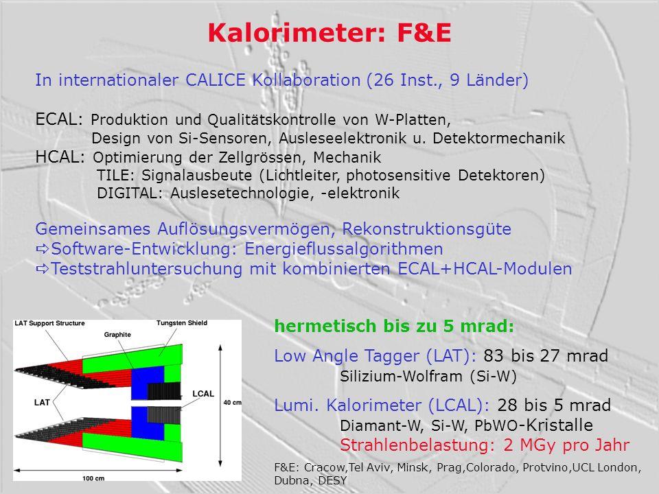 Kalorimeter: F&E In internationaler CALICE Kollaboration (26 Inst., 9 Länder) ECAL: Produktion und Qualitätskontrolle von W-Platten, Design von Si-Sen