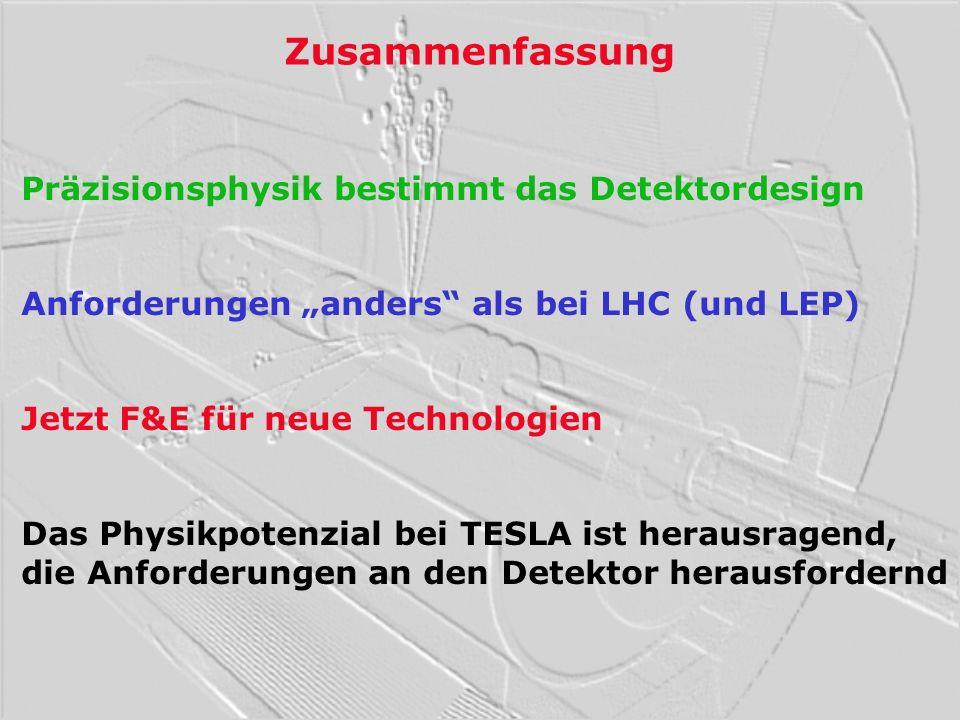 Zusammenfassung Präzisionsphysik bestimmt das Detektordesign Anforderungen anders als bei LHC (und LEP) Jetzt F&E für neue Technologien Das Physikpote