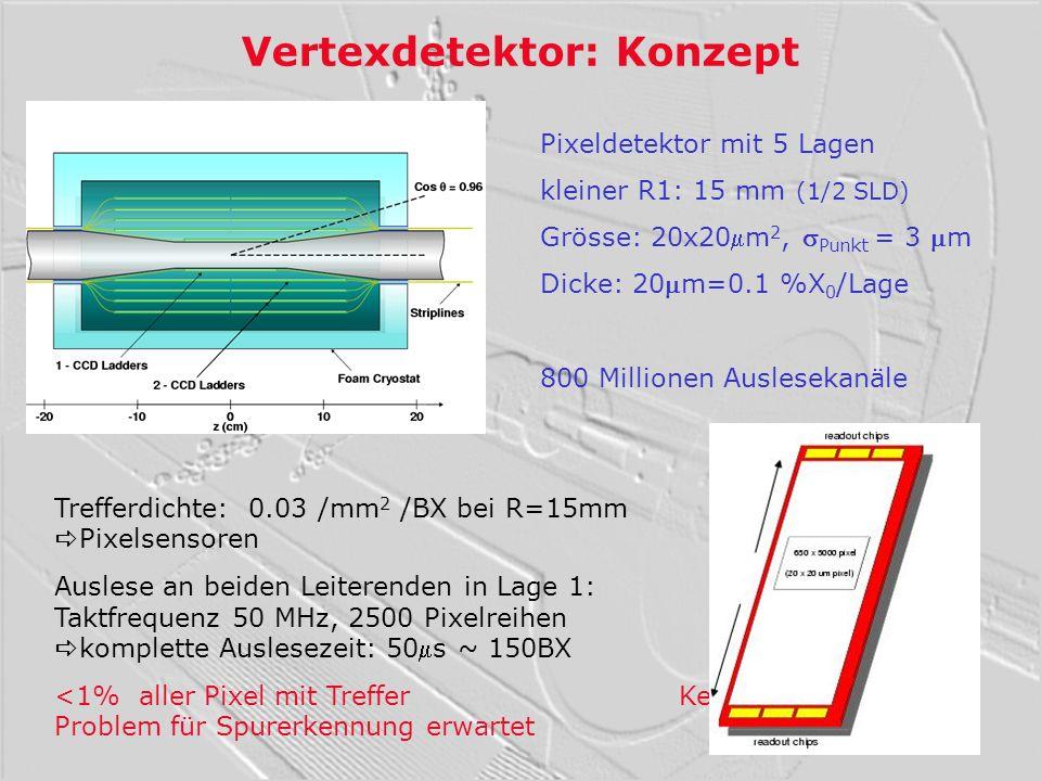 Vertexdetektor: Konzept Pixeldetektor mit 5 Lagen kleiner R1: 15 mm (1/2 SLD) Grösse: 20x20m 2, Punkt = 3 m Dicke: 20m=0.1 %X 0 /Lage 800 Millionen Au