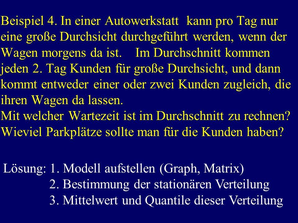 Beispiel 4. In einer Autowerkstatt kann pro Tag nur eine große Durchsicht durchgeführt werden, wenn der Wagen morgens da ist. Im Durchschnitt kommen j