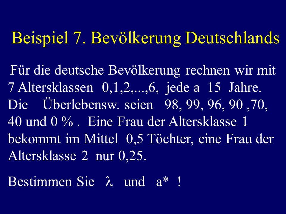 Beispiel 7. Bevölkerung Deutschlands Für die deutsche Bevölkerung rechnen wir mit 7 Altersklassen 0,1,2,...,6, jede a 15 Jahre. Die Überlebensw. seien