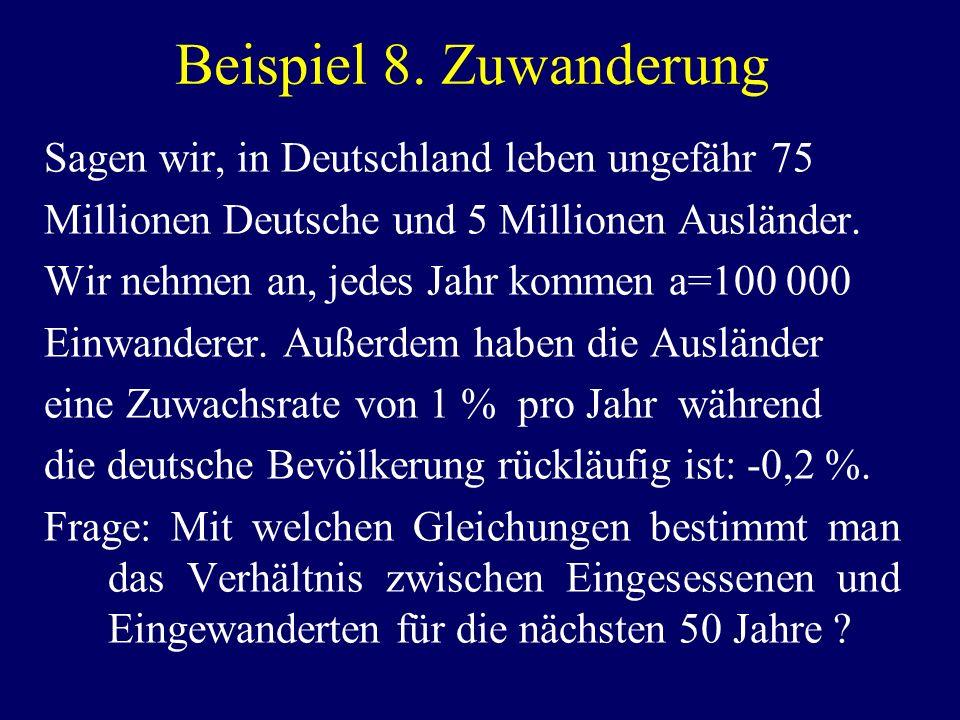 Beispiel 8. Zuwanderung Sagen wir, in Deutschland leben ungefähr 75 Millionen Deutsche und 5 Millionen Ausländer. Wir nehmen an, jedes Jahr kommen a=1