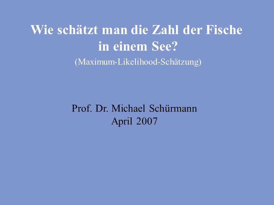 Wie schätzt man die Zahl der Fische in einem See? (Maximum-Likelihood-Schätzung) Prof. Dr. Michael Schürmann April 2007