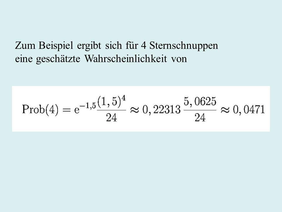 Zum Beispiel ergibt sich für 4 Sternschnuppen eine geschätzte Wahrscheinlichkeit von