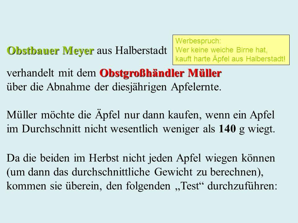 Obstbauer Meyer Obstbauer Meyer aus Halberstadt Müller möchte die Äpfel nur dann kaufen, wenn ein Apfel im Durchschnitt nicht wesentlich weniger als 1