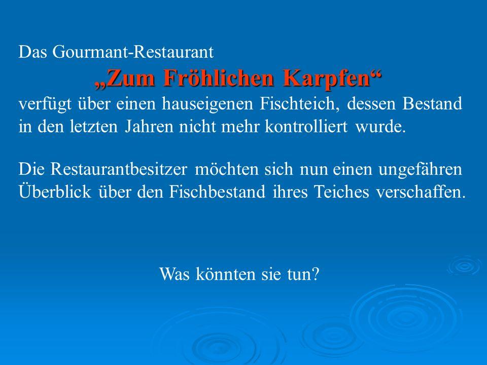 Das Gourmant-Restaurant Zum Fröhlichen Karpfen verfügt über einen hauseigenen Fischteich, dessen Bestand in den letzten Jahren nicht mehr kontrolliert