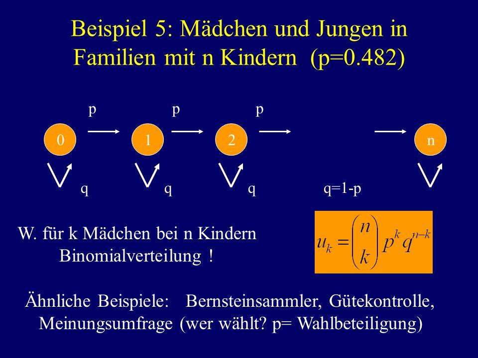 Beispiel 5: Mädchen und Jungen in Familien mit n Kindern (p=0.482) q q q q=1-p p p p 0 1 2 n W. für k Mädchen bei n Kindern Binomialverteilung ! Ähnli