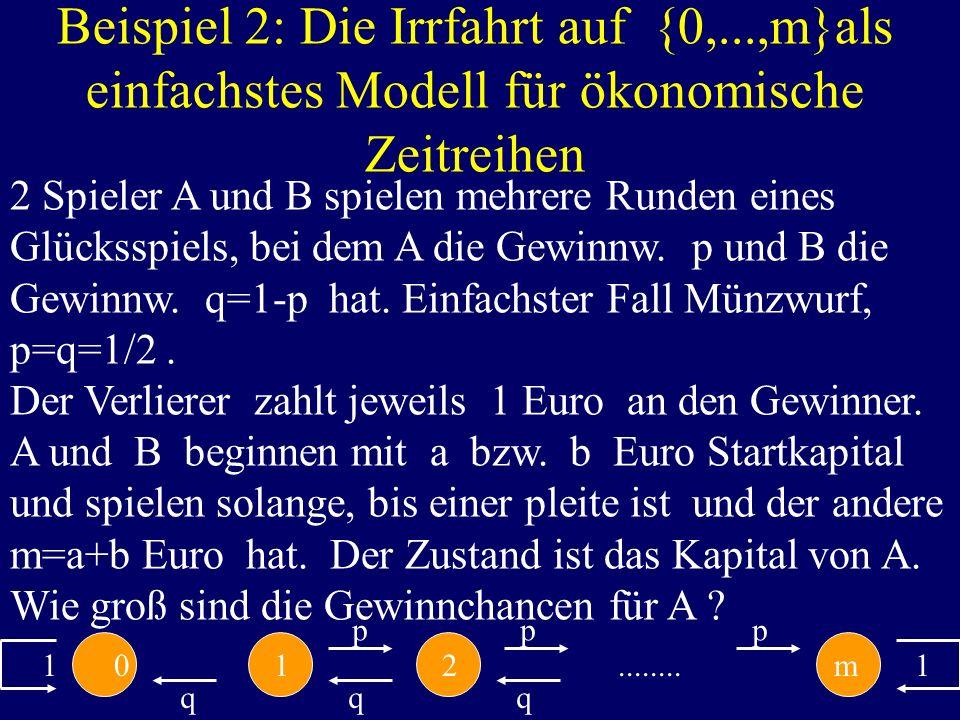 Beispiel 2: Die Irrfahrt auf {0,...,m}als einfachstes Modell für ökonomische Zeitreihen 2 Spieler A und B spielen mehrere Runden eines Glücksspiels, b