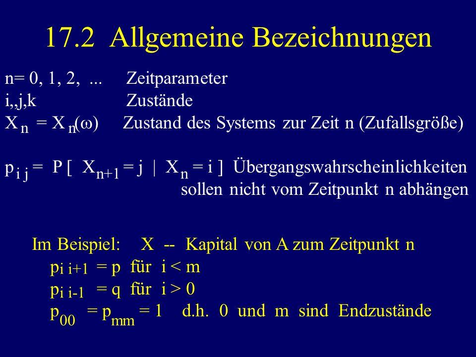 17.2 Allgemeine Bezeichnungen n= 0, 1, 2,... Zeitparameter i,,j,k Zustände X = X ( ) Zustand des Systems zur Zeit n (Zufallsgröße) p = P [ X = j | X =