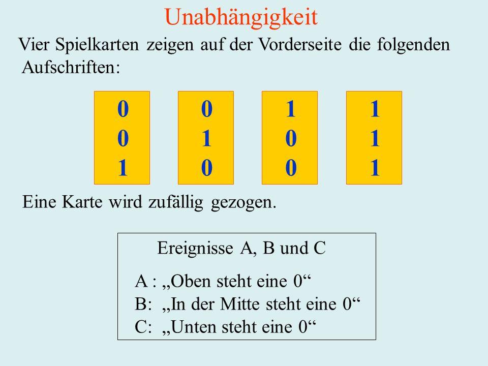Unabhängigkeit Vier Spielkarten zeigen auf der Vorderseite die folgenden Aufschriften: 1 Eine Karte wird zufällig gezogen. Ereignisse A, B und C A : O