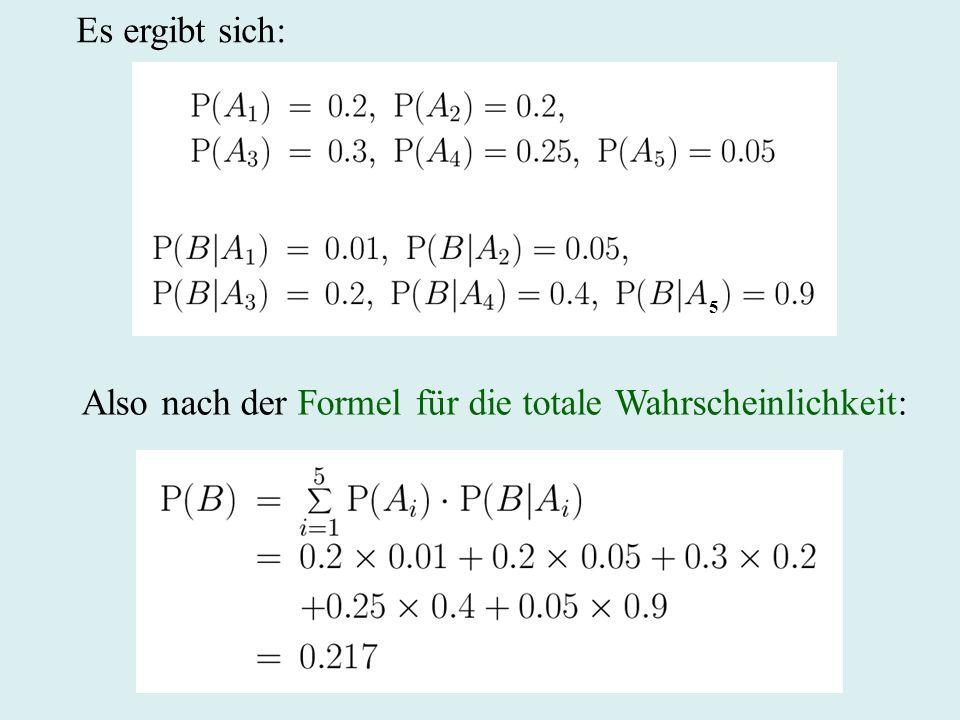 Es ergibt sich: Also nach der Formel für die totale Wahrscheinlichkeit: 5