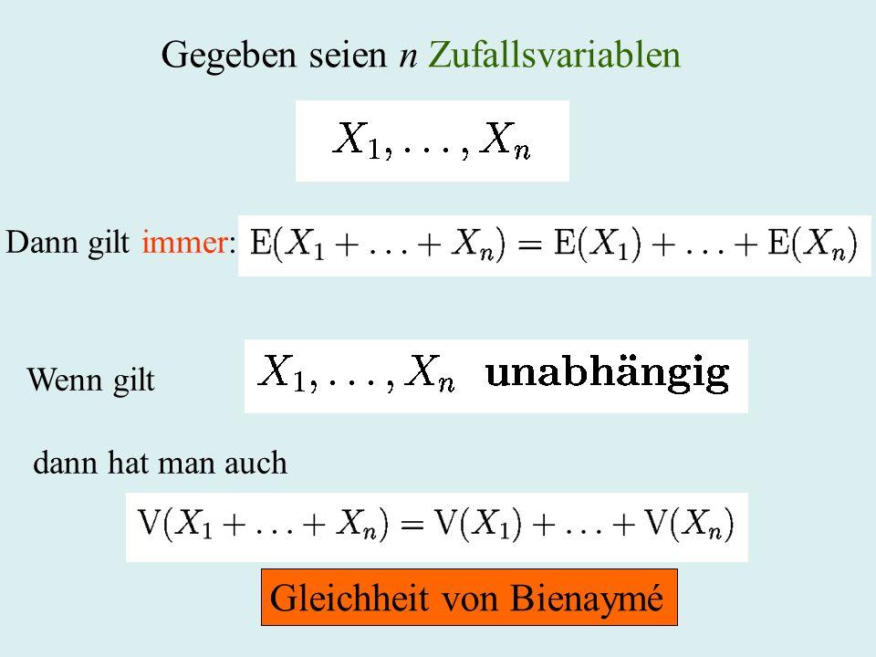 Gegeben seien n Zufallsvariablen Dann gilt immer: Wenn gilt dann hat man auch Gleichheit von Bienaymé