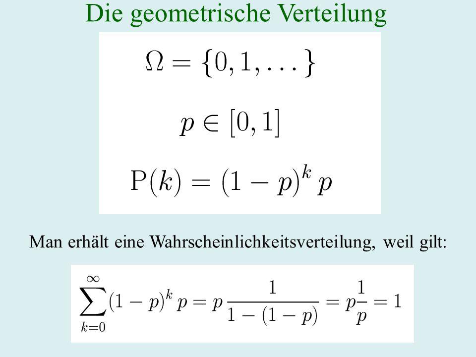 Die geometrische Verteilung Man erhält eine Wahrscheinlichkeitsverteilung, weil gilt: