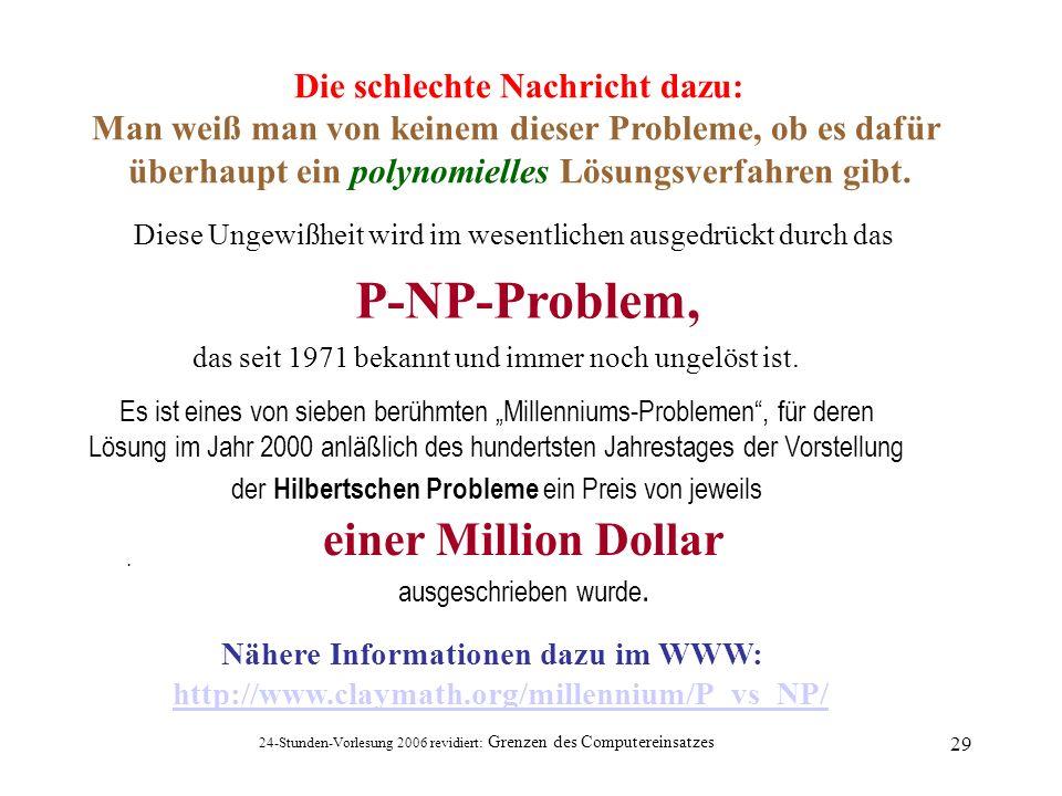 24-Stunden-Vorlesung 2006 revidiert: Grenzen des Computereinsatzes 29 Diese Ungewißheit wird im wesentlichen ausgedrückt durch das P-NP-Problem, das s