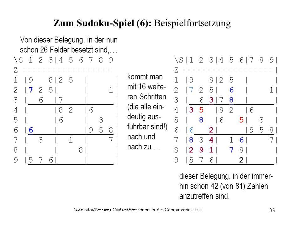 24-Stunden-Vorlesung 2006 revidiert: Grenzen des Computereinsatzes 39 Zum Sudoku-Spiel (6): Beispielfortsetzung \S 1 2 3|4 5 6 7 8 9 Z ---------------