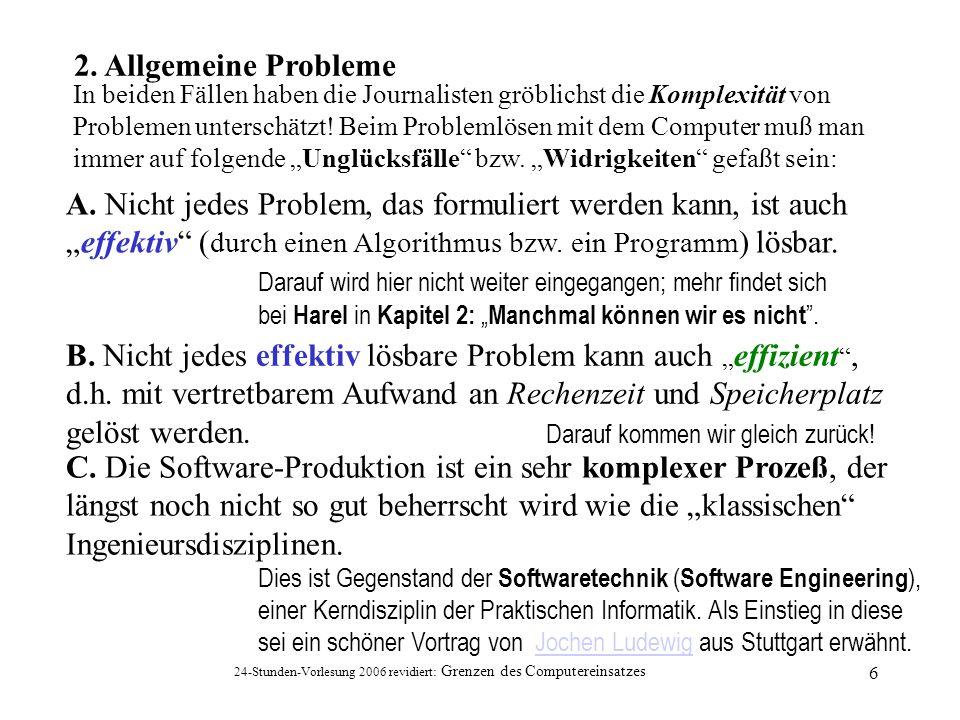 24-Stunden-Vorlesung 2006 revidiert: Grenzen des Computereinsatzes 7 Nun konzentrieren wir uns auf die Rechenzeit als Maß der Effizienz und gehen von einem hypothetischen Computer aus, der seine Grundoperationen in jeweils einer Mikrosekunde bewältigt.