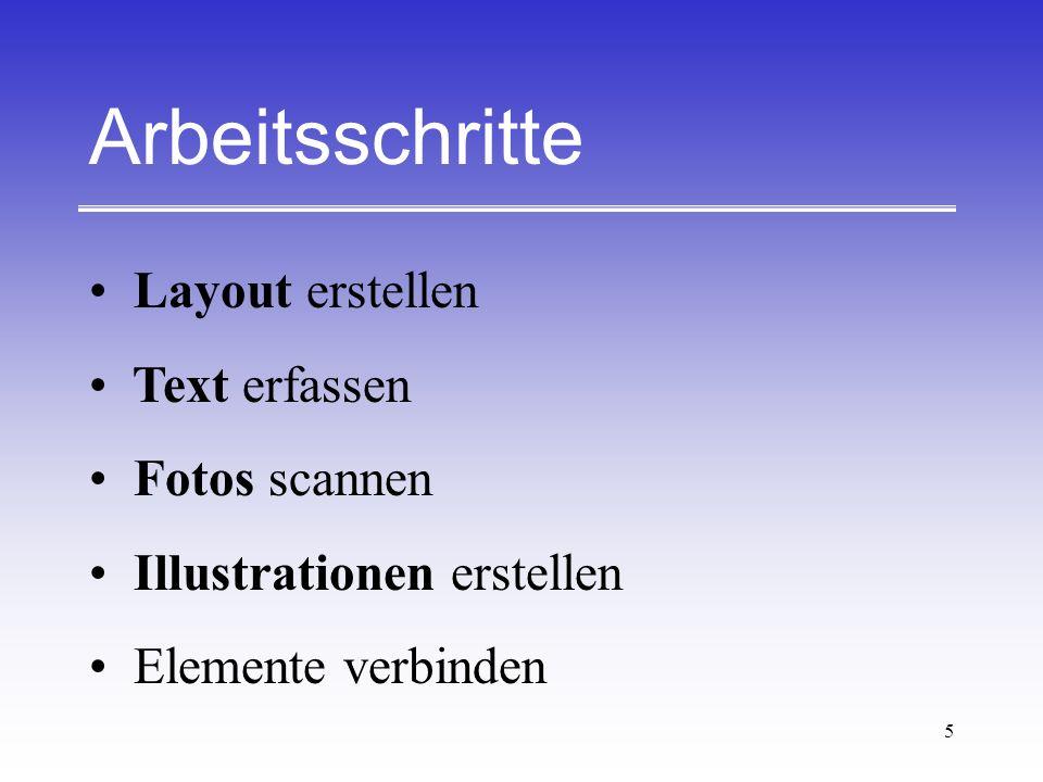5 Arbeitsschritte Layout erstellen Text erfassen Fotos scannen Illustrationen erstellen Elemente verbinden
