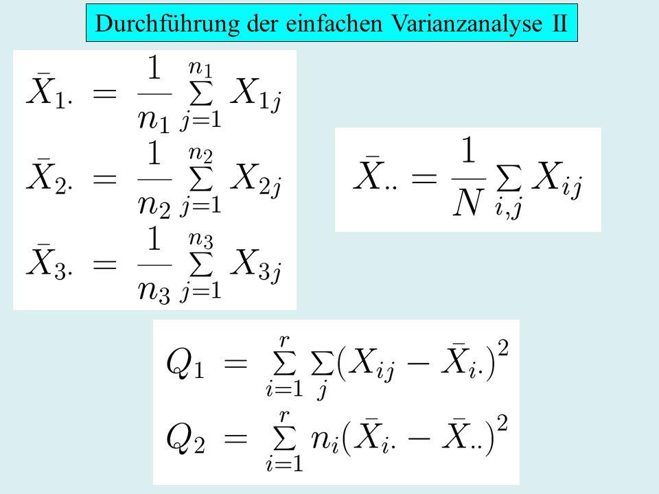 Durchführung der einfachen Varianzanalyse III Bestimmung von Ablehnungsbereich Berechnung von