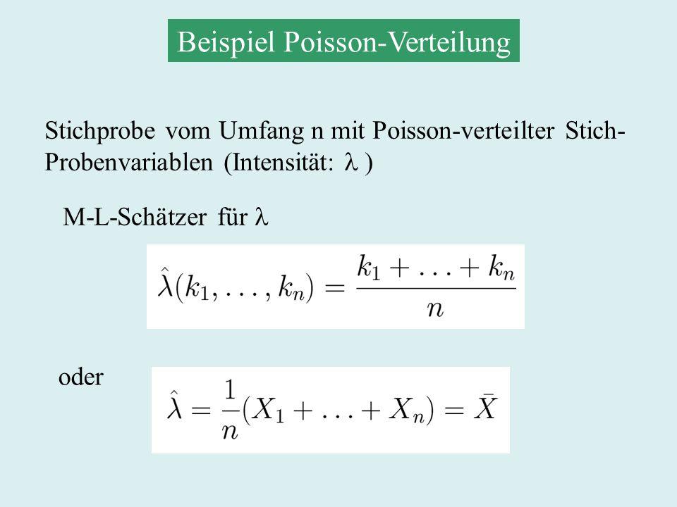 Beispiel Bernoulli-Verteilung Stichprobe vom Umfang n mit Bernoulli- verteilter Stichprobenvariablen (p: Wahrscheinlichkeit des Ereignisses) M-L-Schätzer für p wieder gegeben durch: