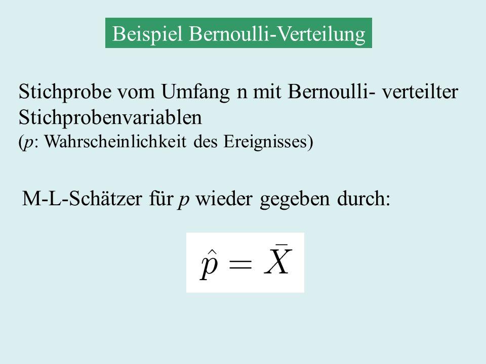 Maximum-Likelihood-Schätzer (stetiger Fall) Likelihood-Funktion mit oder M-L-Schätzer