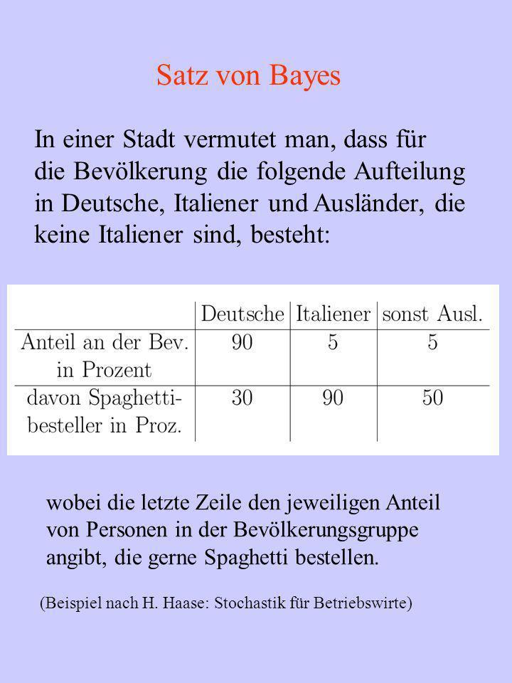 Satz von Bayes In einer Stadt vermutet man, dass für die Bevölkerung die folgende Aufteilung in Deutsche, Italiener und Ausländer, die keine Italiener