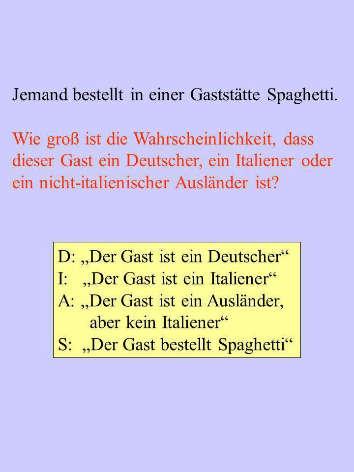 Jemand bestellt in einer Gaststätte Spaghetti. Wie groß ist die Wahrscheinlichkeit, dass dieser Gast ein Deutscher, ein Italiener oder ein nicht-itali