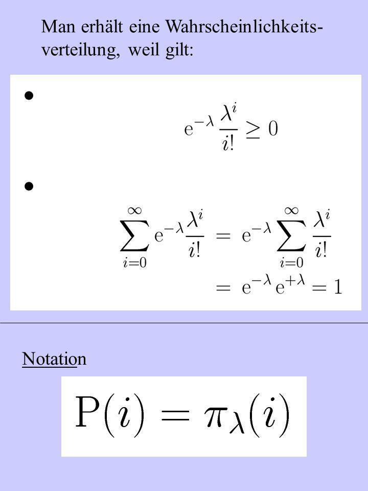 Man erhält eine Wahrscheinlichkeits- verteilung, weil gilt: Notation