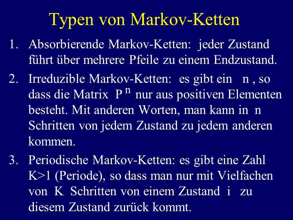Typen von Markov-Ketten 1.Absorbierende Markov-Ketten: jeder Zustand führt über mehrere Pfeile zu einem Endzustand. 2.Irreduzible Markov-Ketten: es gi