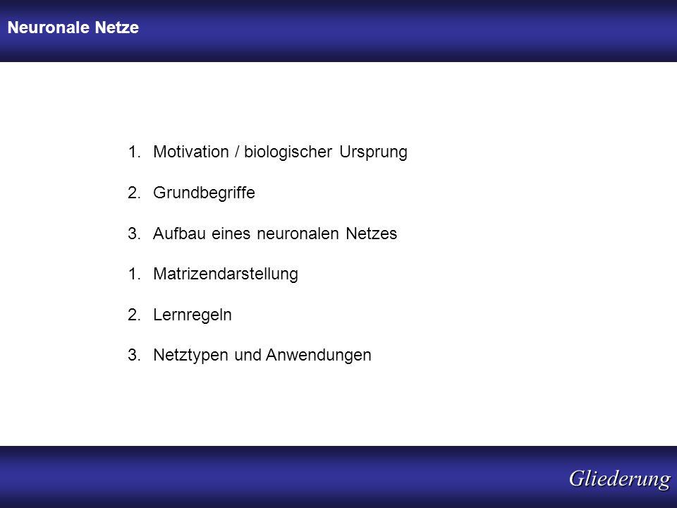 1.Motivation / biologischer Ursprung 2.Grundbegriffe 3.Aufbau eines neuronalen Netzes 1.Matrizendarstellung 2.Lernregeln 3.Netztypen und Anwendungen N