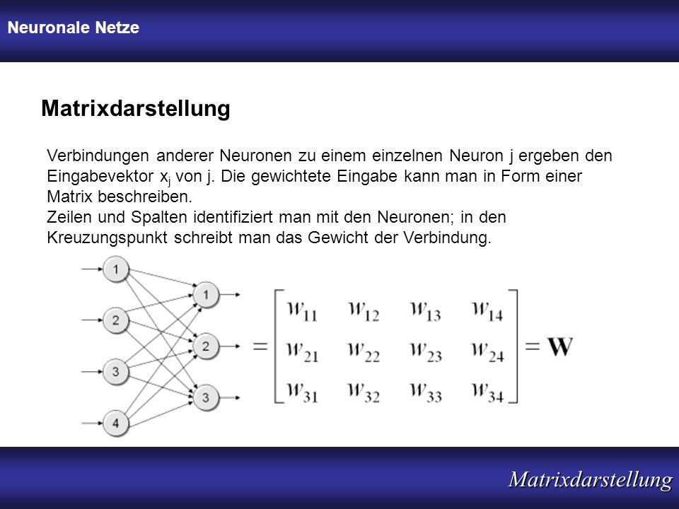 Neuronale Netze Matrixdarstellung Matrixdarstellung Verbindungen anderer Neuronen zu einem einzelnen Neuron j ergeben den Eingabevektor x j von j. Die
