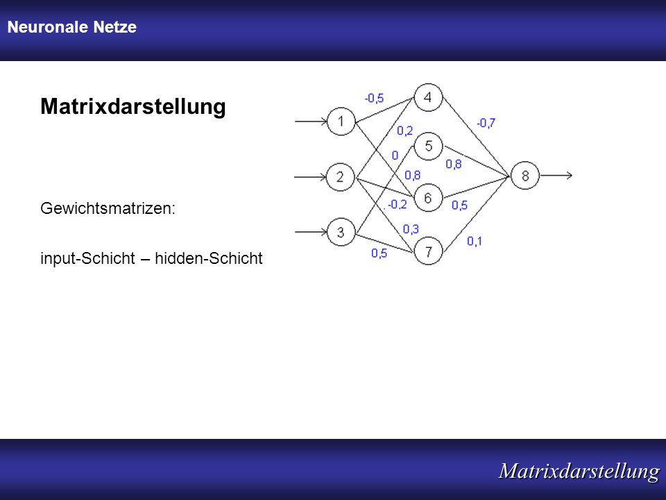 Neuronale Netze Matrixdarstellung Matrixdarstellung input-Schicht – hidden-Schicht Gewichtsmatrizen: