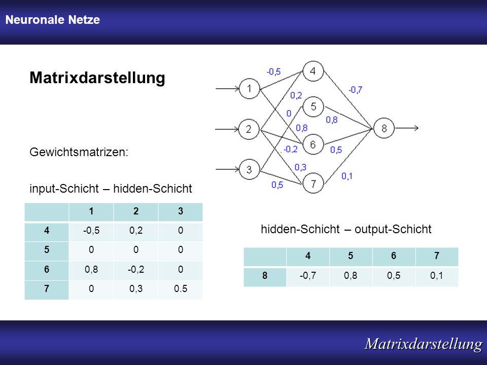 Neuronale Netze Matrixdarstellung Matrixdarstellung input-Schicht – hidden-Schicht Gewichtsmatrizen: 123 4-0,50,20 5000 60,8-0,20 700,30.5 hidden-Schi