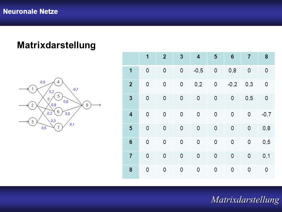 Neuronale Netze Matrixdarstellung Matrixdarstellung 12345678 1000-0,500,800 20000,20-0,20,30 30000000,50 40000000-0,7 500000000,8 600000000,5 70000000