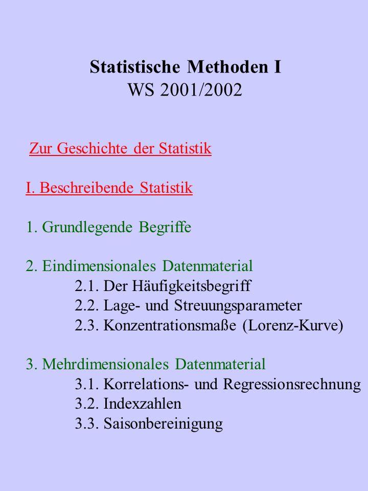 Statistische Methoden I WS 2001/2002 Zur Geschichte der Statistik I. Beschreibende Statistik 1. Grundlegende Begriffe 2. Eindimensionales Datenmateria