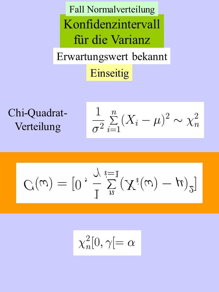 Konfidenzintervall für die Varianz Erwartungswert bekannt Einseitig Chi-Quadrat- Verteilung Fall Normalverteilung