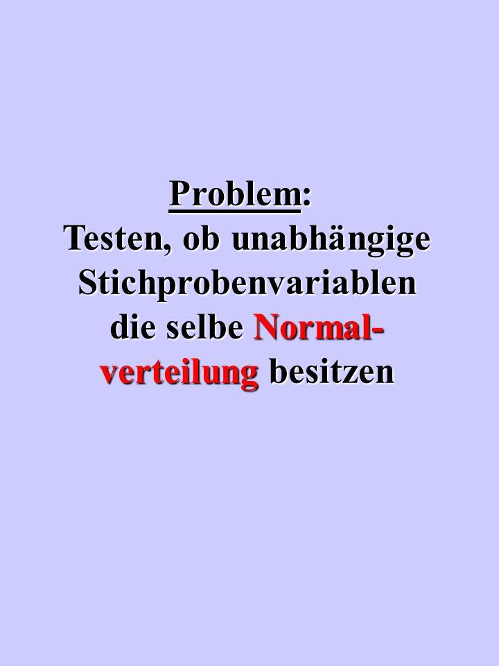 Problem: Testen, ob unabhängige Stichprobenvariablen die selbe Normal- verteilung besitzen