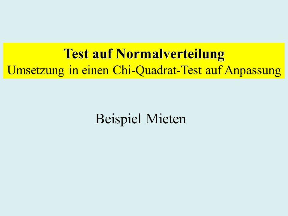 Test auf Normalverteilung Umsetzung in einen Chi-Quadrat-Test auf Anpassung Beispiel Mieten