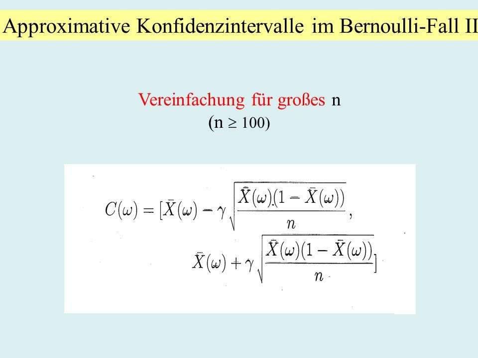 Approximative Konfidenzintervalle im Bernoulli-Fall II Vereinfachung für großes n (n 100)
