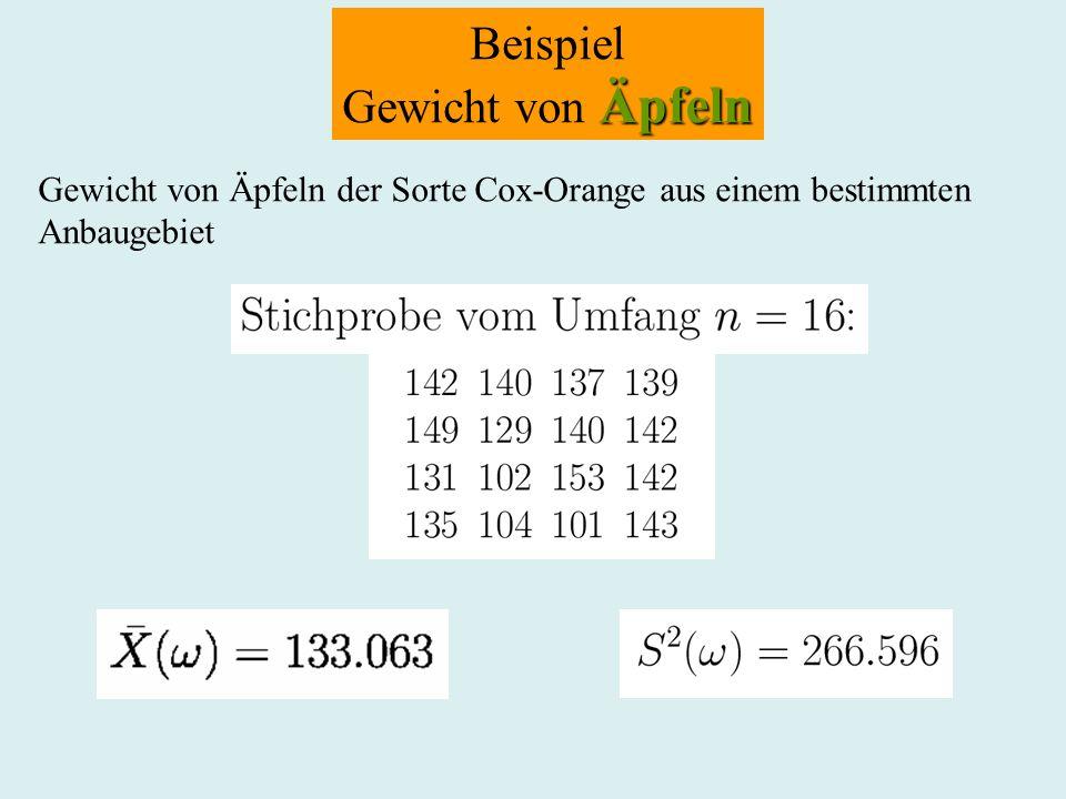 Beispiel Äpfeln Gewicht von Äpfeln Gewicht von Äpfeln der Sorte Cox-Orange aus einem bestimmten Anbaugebiet
