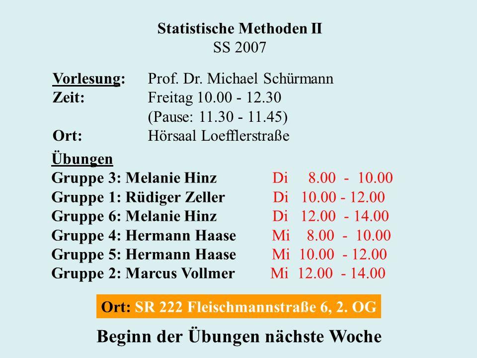Statistische Methoden II SS 2007 Vorlesung:Prof. Dr.