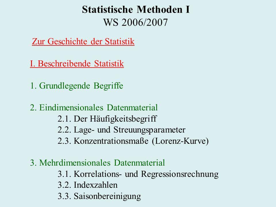 Statistische Methoden I WS 2006/2007 Zur Geschichte der Statistik I.