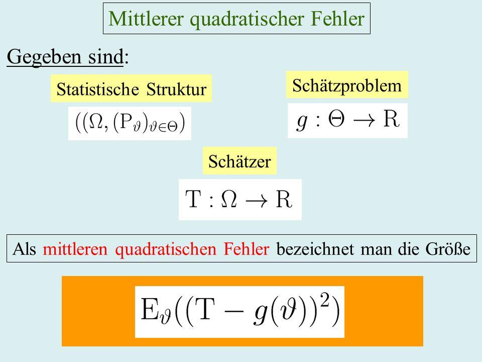Mittlerer quadratischer Fehler Gegeben sind: Statistische Struktur Schätzproblem Als mittleren quadratischen Fehler bezeichnet man die Größe Schätzer