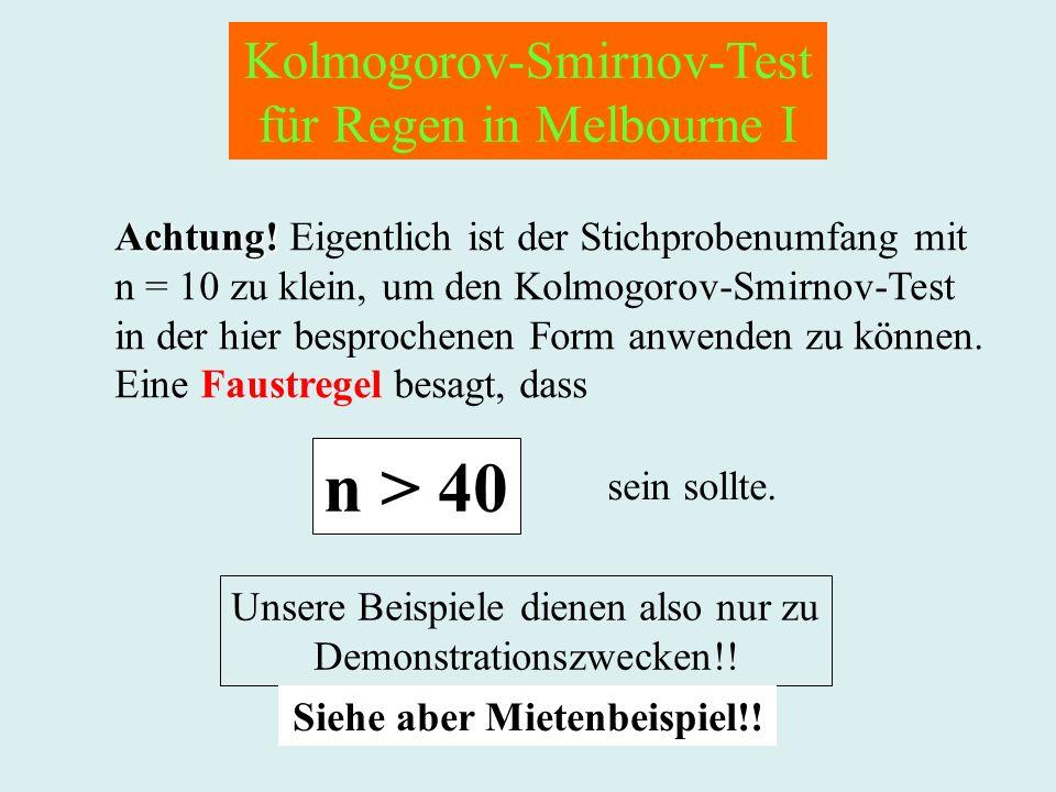 Kolmogorov-Smirnov-Test für Regen in Melbourne I Achtung! Achtung! Eigentlich ist der Stichprobenumfang mit n = 10 zu klein, um den Kolmogorov-Smirnov