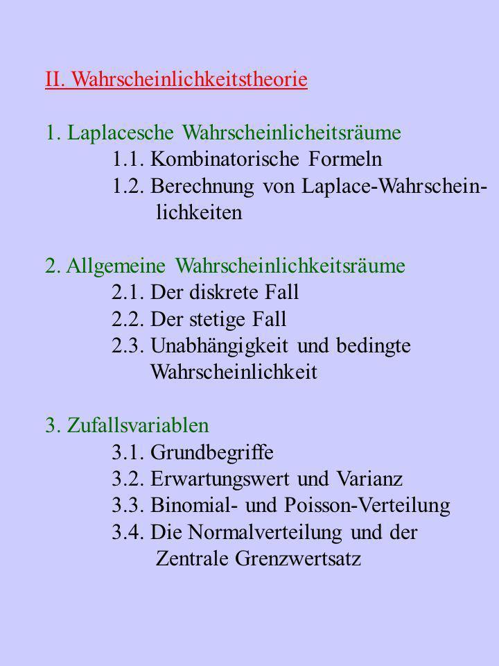 II. Wahrscheinlichkeitstheorie 1. Laplacesche Wahrscheinlicheitsräume 1.1. Kombinatorische Formeln 1.2. Berechnung von Laplace-Wahrschein- lichkeiten
