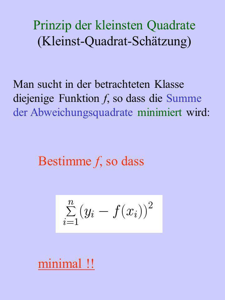 Prinzip der kleinsten Quadrate (Kleinst-Quadrat-Schätzung) Man sucht in der betrachteten Klasse diejenige Funktion f, so dass die Summe der Abweichung