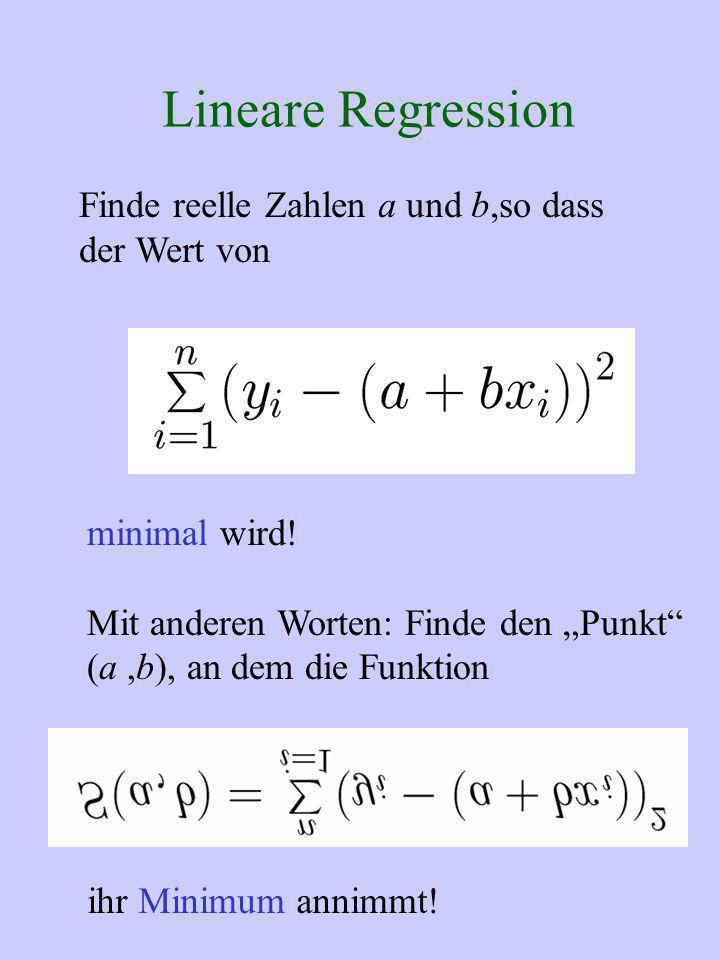 Lineare Regression Finde reelle Zahlen a und b,so dass der Wert von minimal wird! Mit anderen Worten: Finde den Punkt (a,b), an dem die Funktion ihr M
