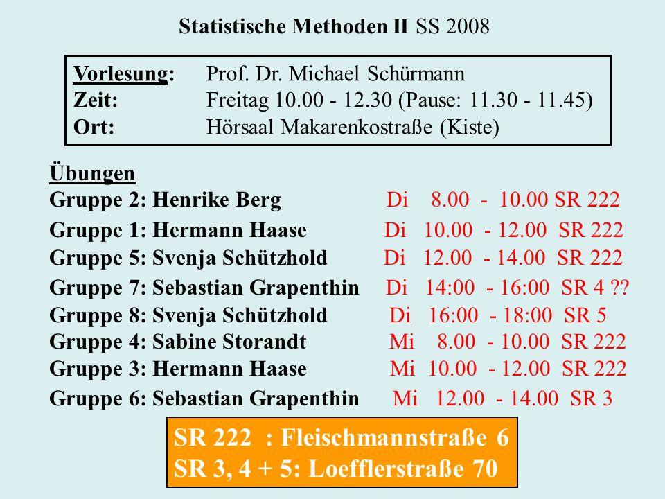 Statistische Methoden II SS 2008 Vorlesung:Prof. Dr. Michael Schürmann Zeit:Freitag 10.00 - 12.30 (Pause: 11.30 - 11.45) Ort:Hörsaal Makarenkostraße (